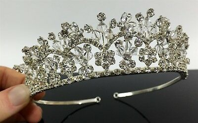 Women Girls Fancy Rhinestone Silver Tone Metal Princess Bride Prom Pageant Tiara