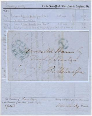 1847 Stampless Dunning Letter from the New York State Lunatic Asylum