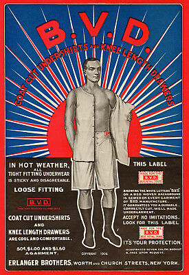Man Wearing Underwear in Front of Rising Sun - 1920s BVD Ad - Patriotic Colors