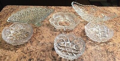 Nice Group Vintage Glass Crystal Cut Pressed Glass Dishes Fan Clover Candy Gravy