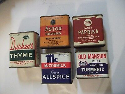 """SEE! 5 Collectible Vintage """"OLD MANSION,ASTOR,TRYME,DURKEE'S Metal Spice Tins"""