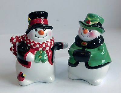 Fitz and Floyd Holly Jolly Snowman 2004 Salt N Pepper Shakers Christmas Boxed
