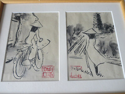 Beautiful Asian Hand Painted Ink On Paper Original Painting Signed