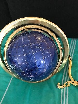 GEMSTONE GLOBE OF THE WORLD with COMPASS TRIPOD STAND