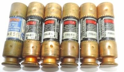 Lot of 6 Fusetron FRN-R-5 Dual Element Time Delay Fuse 5A 250VAC