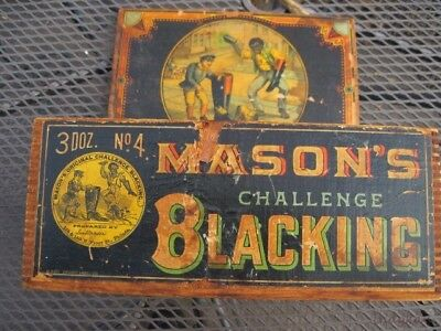 Antique Advertising Wood Box Mason's Challenge Blacking Store Boot Shoe Display