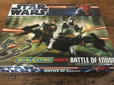 Scalextric STAR WARS Battle of  Endor COMPLETE Set Excellent Condition