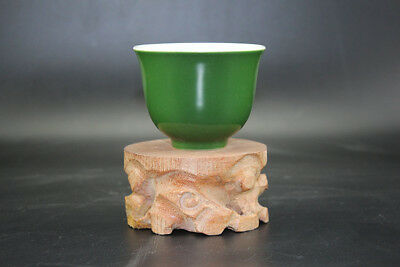 Chinese old hand-carved porcelain green glaze Kung fu tea cups