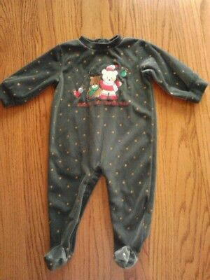 """Simply Basic Infants Size 3/6M Green Velour """"baby's First Christmas"""" Sleeper Euc"""
