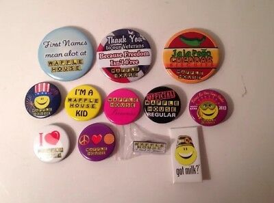 Lot of 11 Waffle House Buttons And 1 Pin.