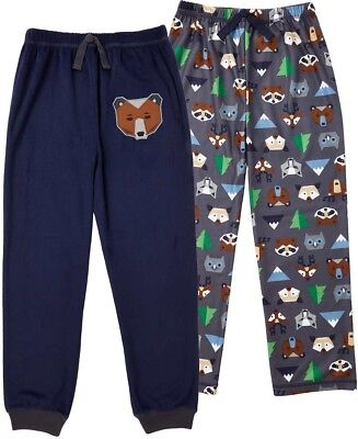 Boys Sleep Pants Size 14 2 Pack Blue Animal Print Pajama Bottoms Fleece NWT