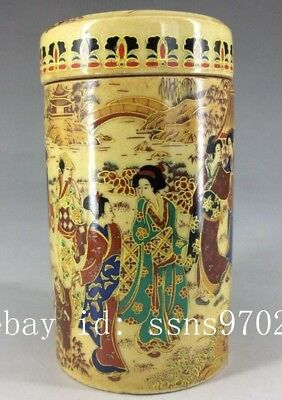 Chinese antique handmade painting kimono woman tea pot