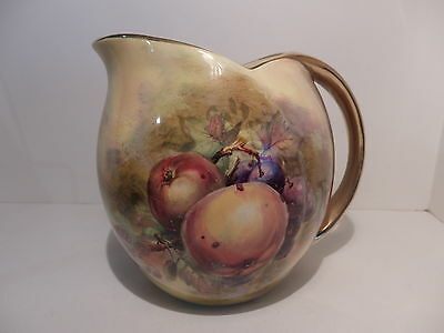 Royal Winton Hand Painted Fruit Pattern Art Deco Dunoon Shape Jug Signed M Lut