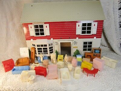 Vintage Marx tin litho dollhouse furniture people figures 1950's huge lot