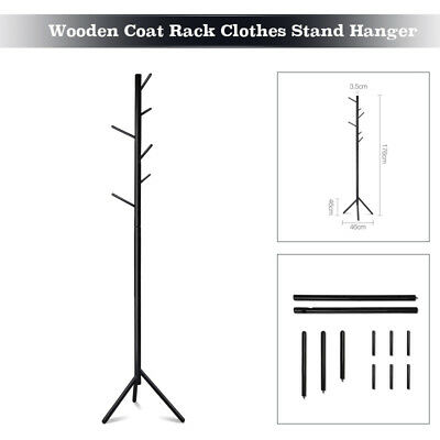 Wooden Coat Stand Rack Clothes Hanger Hat Tree Jacket Bag Umbrella Hook 176cm AU