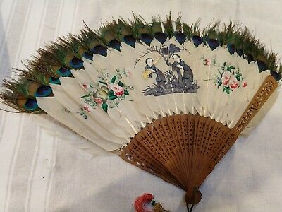 antique victorian handpainted fan peacock feathers