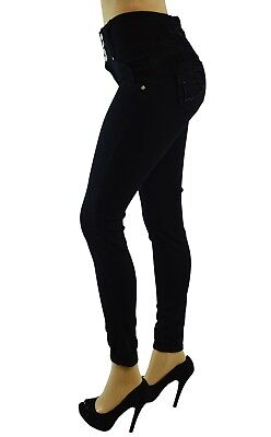 High Waist  Stretch Push-Up Colombian Style Skinny Jeans in Black LA-184BK