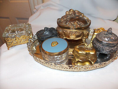 8 pc lot Antique  Art Nouveau Jewelry Caskets  Signed  Rogers Usa & Numbered
