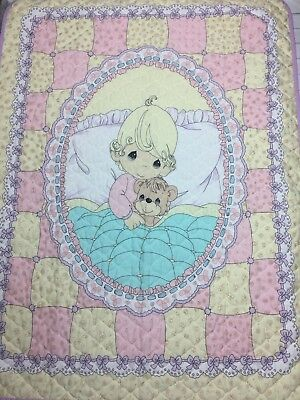 Precious Moments Baby Crib Quilt Blanket Yellow Purple Pink *Read