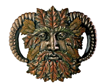 """Celtic Horned Greenman Plaque-Fall -Collectible Green Man 7"""" x 6.5"""" Resin"""