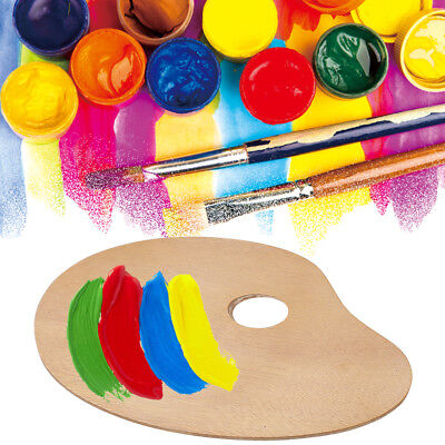 Classic Oval Wooden Paint Palette Oil/Acrylic Paint Tray with Thumb Hole
