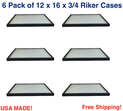 6 Pack of Riker Display Cases 12 x 16 x 3/4 for Collectibles Jewelry & More