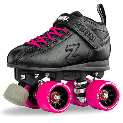 Zoom Speed Skate Quad Roller Skates with PINK Custom Kit PLUS Bonus Jam Plugs!