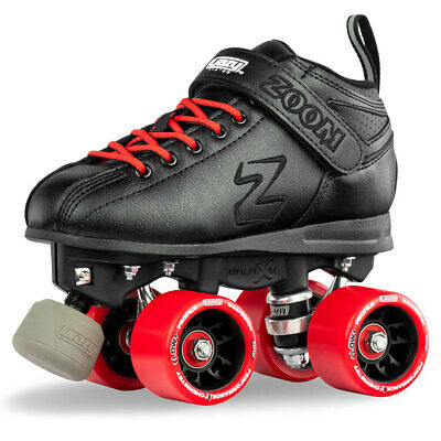 Zoom Speed Skate Quad Roller Skates with RED Custom Kit PLUS Bonus Jam Plugs!