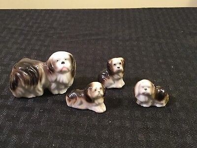 Vintage Occupied Japan Porcelain Shih Tzu Dog & 3 Puppies Miniature Figurines