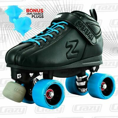 Zoom Speed Skate Quad Roller Skates with TEAL Custom Kit PLUS Bonus Jam Plugs!