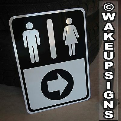Men Women Male Female Restroom Washroom Directional Right Arrow Sign Aluminum