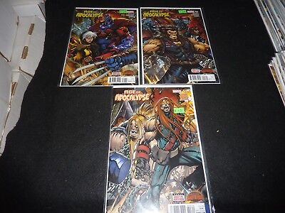 AGE OF APOCALYPSE Marvel 2015 Lot of 3 #1 2 3 Connecting Covers SECRET WARS NM