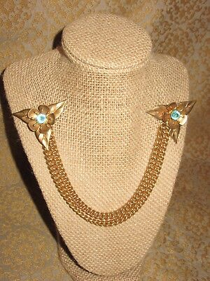 Gorgeous Sweater Scarf Guard Brooch Clip Gold Tone Chain Vintage Rhinestone