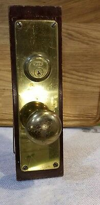 YALE Vintage Antique Hardware Store Display Door Knob Nice Display BRASS