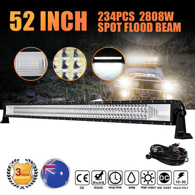 52 Inch 2808W Philips Led Light Bar Spot Flood Combo Driving Lamp Offroad 4x4WD