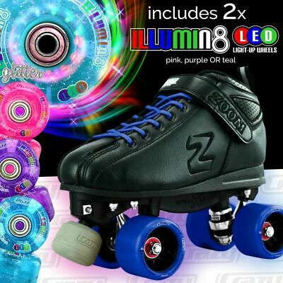 BLUE Zoom Speed Skate Quad Roller Skates with 2 BRIGHT LED Glitter wheels COMBO!