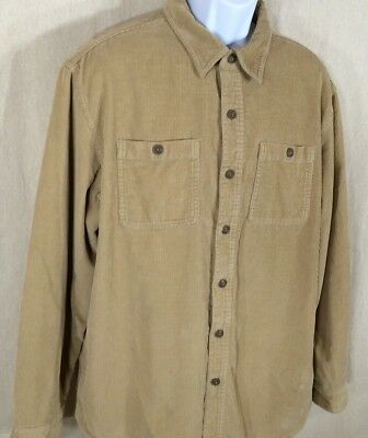 LL Bean Mens Size Large Flannel Lined Shirt Jacket Brown Corduroy 100% Cotton