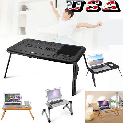 Portable Lap Desk Folding Wood Laptop Notebook Bed Table Stand Tray Adjustable
