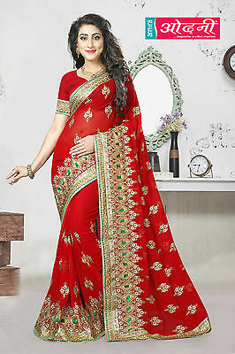 Designer Red Georgette Wedding Wear SariIndian Bollywood Style Embroidered Saree