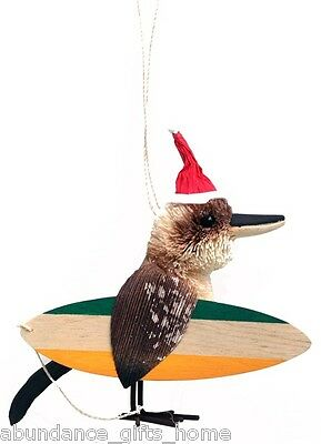 Surfing Kookaburra Australian Christmas Tree Hanging Ornament