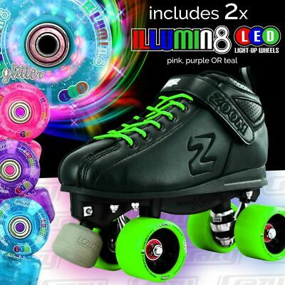 GREEN Zoom Speed Skate Quad Roller Skates with 2 BRIGHT LED Glitter wheels COMBO
