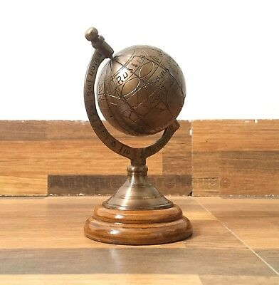 Antique Brass Rotating World Globe With Wooden Base Office & Home Table Decor G