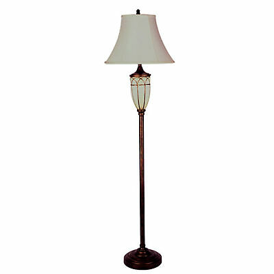"""64"""" Tall Metal and Polyresin Floor Lamp with Night Light, Victorian Style"""