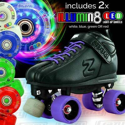 Zoom PURPLE Speed Skate Roller Skates + 2 LED Super Bright Colour wheels Combo!