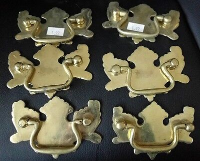 Vintage handle drawer dresser pull lot brass metal lot 2