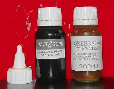 Absolute Black Tattoo Ink 50mls & 50mls Green Soap Concentrate Starter Set Kit
