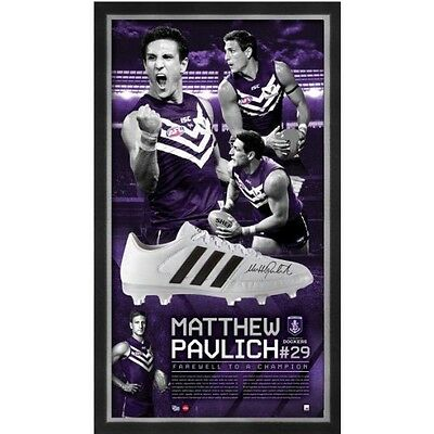 Matthew Pavlich Fremantle Signed Framed Farewell To A Champion Official Boot