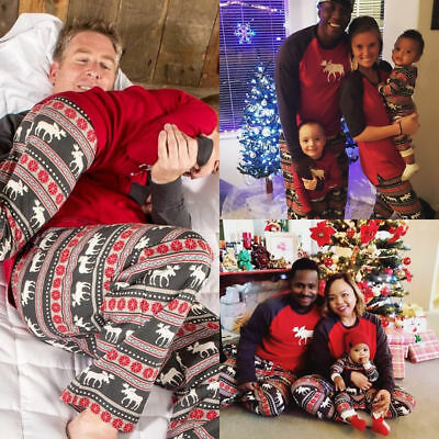 UK Stock Family Matching Adult Women Kids Christmas Nightwear Pyjamas Pajamas