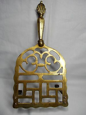 "Vintage RARE Brass TRIVET Two Hook Clip On Legs 11.5"" x 5.75"""