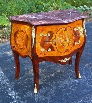 Superb marquetry red marble top Louis commode